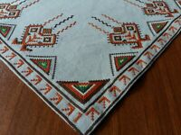 """ANTIQUE Beautiful Vintage Linen Tablecloth Handmade Embroidery Square 21.5"""""""