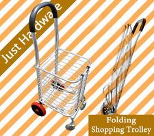 Portable Folding Shopping Trolley 4 Wheels Foldable Basket Cart Trailer 65kg NEW