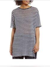 Eileen Fisher Organic Linen Knit Stripe Round Neck Tunic, GraphiteWhite, PM, NWT