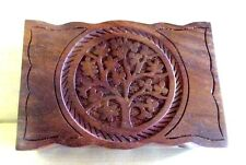 "Hand Carved Tree of Life Wooden Trinket Box 4x6"" W"