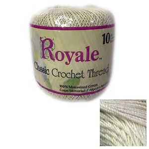 Royale Classic Crochet Thread Sz 10 #0226 Natural 400 Yds 100% Mercerized Cotton