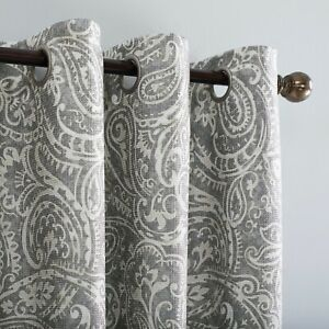 """Window Curtain Panel Ayako Paisley Printed Total Blackout Grommet Gray 84"""" x 52"""""""