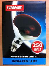 250w Heat Lamp / Bulb Infrared ES 250 Watt Screw In Red Ruby Colour New