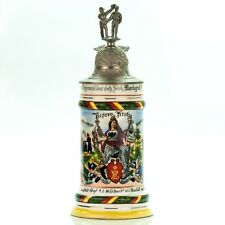 Regimental Lithophane Beer Stein | 1902 - 04 Antique German Lidded Military WWI