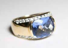 Sterling Silver 925 Goldplated Ring Size 8 Blue Gem