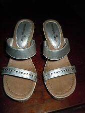 Montego Bay Silver Slip On Platform Sandals Heels Size 8