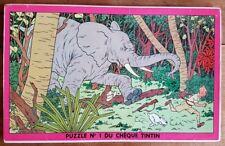 RARE EO 1955 PUZZLE COMPLET CHÈQUE TINTIN N° 1 À L'ÉLÉPHANT ( TINTIN AU CONGO )