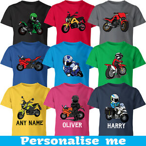 Biker Kids TShirt Choose Your Design Personalised Your Name Motorcycle Funny Tee