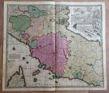 ITALY CENTER PART by MATHEUS SEUTTER 1730 UNUSUAL LARGE ANTIQUE MAP 18TH CENTURY