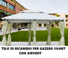 TOP TELO COPERTURA ECRU DI RICAMBIO PER GAZEBO 3x4 MT AGGANCIO A SPORGENZA