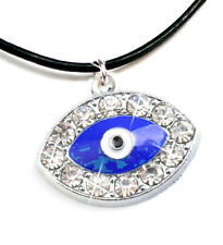 Necklace Chain Pendant Eye Women's Rhinestone Leather Black 45 cm