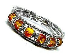 "Tibetan Silver Cuff Bracelet Bangle Orange Amber 8.5"" Very Detailed Pretty New"