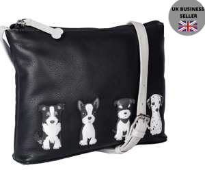 Premium Leather Sitting Dogs Ladies Crossbody Shoulder Bag by Mala Leather 7216