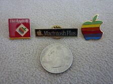 NEW Lot of 3 Rare Vintage Apple Macintosh Logo Lapel Emblem Pin Free US Ship!!!