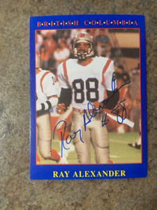 signed in person   RAY ALEXANDER  CFL   BC LIONS   JOGO # 89   1990