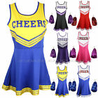CHEERLEADER FANCY DRESS OUTFIT UNIFORM HIGH SCHOOL CHEER COSTUME WITH POM POMS
