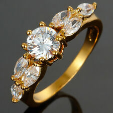 ~~ 6mm Clear Topaz Stone 18K Yellow Gold Plated Round Cut Ring Size Q 8