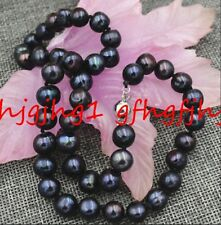 """18KGP clasp New 9-10mm Tahitian Black Natural Pearl Necklace 18"""" AA+"""