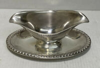 VINTAGE Wm Rogers 813 Silver Plate Gravy Sauce Boat Dish + Attached Under