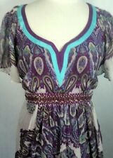 Nicole Miller Woman's Sheer Lined Boho Umpire Sequence Beaded Dress Size 14