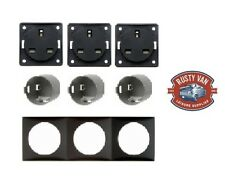 3x Berker 240v Triple Socket kit, inc frame and contact boxes Anthracite