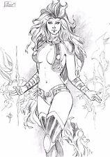 DC Comics Sexy STARFIRE Original Art Teen Titans ROBIN RAVEN CYBORG BEAST BOY
