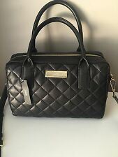 DKNY Soft BLACK QUILTED Lamb NAPA LEATHER SATCHEL Shoulder TOTE Bag