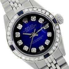 Rolex Lady Datejust 6917 Steel 26mm Blue Vignette w/ Diamond Dial Sapphire Bezel