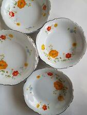 8 Wellin China Tivoli Gardens 5600 Pasta Rimmed Bowl Orange Poppies Wild Flower