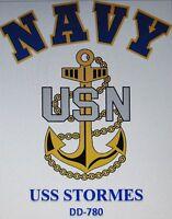 USS STORMES  DD-780* DESTROYER* U.S NAVY W/ ANCHOR* SHIRT