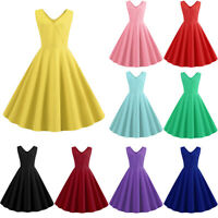 Womens Solid Swing 1940s 50s Rockabilly Vintage V Neck Sleeveless Party Dresses