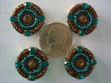 2 Hole Slider Beads Beaded Circles Topaz/Blue Zirchon Crystals #4