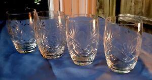 Antique 1920s/ 1927 Set of 4 Cut Glass Barrel-Cut Cocktail Glasses. Home Drinks