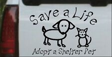 Save a Life Adopt a Shelter Pet Car or Truck Window Decal Sticker Black 6X4.3