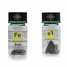 5 grams 99,99% Iron metal element 26 Fe pieces, in labeled glass vial