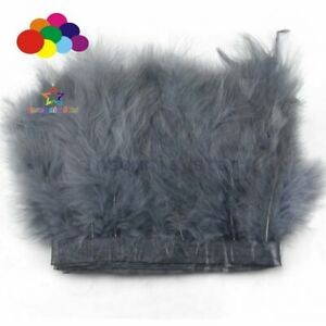 """2 Meter 6-7"""" Dark Gray Marabou Feathers Trims Soft Fluffy Feather Ribbon Fringe"""