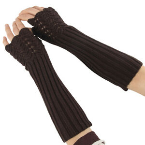 Comfortable Arm Warmers Fingerless Long Gloves Knitted Ladies Solid Half Finger