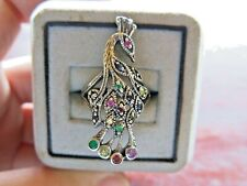 Ring Peacock Silver Women Fine Jewelry 925 Bird Multi Stones marcasite Size 9