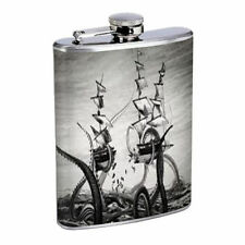 Gigantic Octopus Kraken D10 Flask 8oz Stainless Steel Sea Monster Attacking