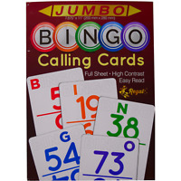 "Regal Games Bingo Calling Card Deck - New Jumbo Full Sheet Size (11"" x 7.875"")"