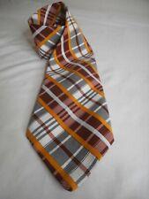 Vintage Retro Plaid Black White Yellow Burgundy Mod Men's tie necktie