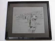 GENE LOCKLEAR DRAWING PAINTING NATIVE AMERICAN INDIAN PUEBLO PORTRAIT LANDSCAPE