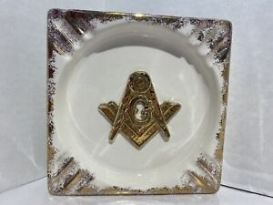Vintage Freemason Masonic Ceramic White W/ Gold Square Cigar Ashtray Large RARE