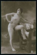 French full nude woman leg up vintage original 1910-20s real photo postcard RPPC