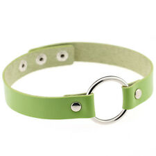 Green Punk Gothic Leather Choker Round Chain Spike Rivet Buckle Necklace Jewelry