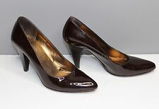 "Women's Coach Dark Brown Heels Pumps Size 6 ""Gennie"" Made in Italy Coach Logo"
