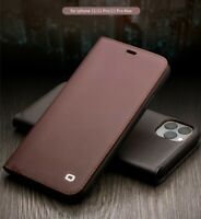 Qialino Genuine Leather Card Slots Wallet Cover Flip Case f iPhone 12 11 Pro Max