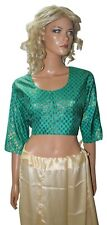 Green Shinny   Saree Ready wear Blouse Choli Top Belly dancing chest Size 44
