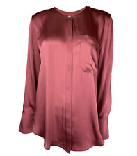 MARKS AND SPENCER / M & S AUTOGRAPH - DEEP ROSE SATIN BLOUSE / SHIRT **NEW**