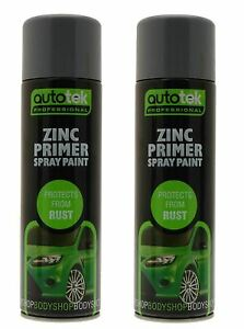 2x AUTOTEK Professional Zinc Primer 500ml Spray Paint High Coverage